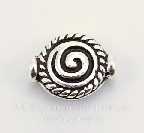 """Бусина TierraCast """"Спираль"""" (цвет-античное серебро) 12х9 мм"""
