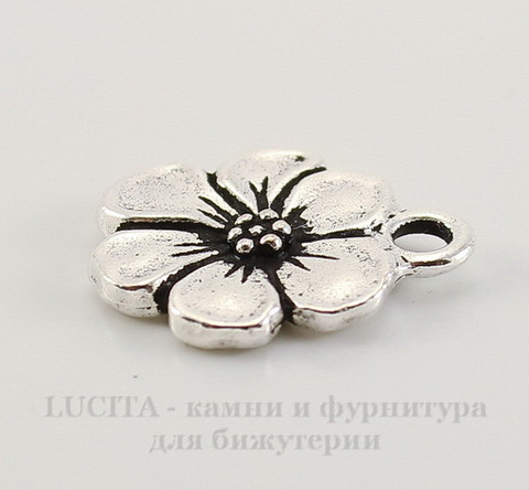 "Подвеска TierraCast ""Цветок"" (цвет-античное серебро) 17х14 мм"
