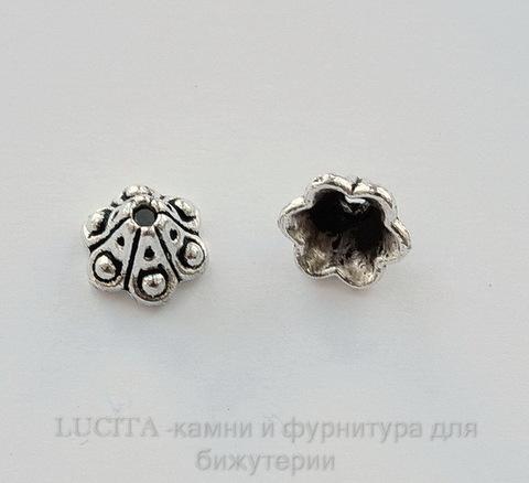 """Шапочка для бусины """"Колокольчик"""" (цвет - античное серебро) 10х5 мм, 10 штук"""