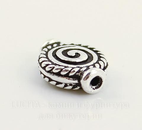 """Бусина TierraCast """"Спираль"""" 12х9 мм (цвет-античное серебро)"""