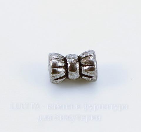 Бусина металлическая трубочка (цвет - античное серебро) 6х4 мм , 20 штук