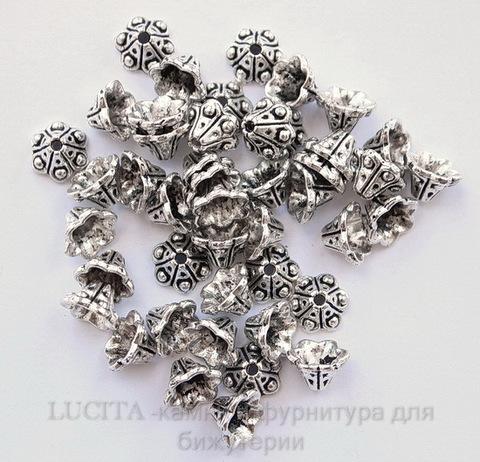 """Шапочка для бусины """"Колокольчик"""" (цвет - античное серебро) 10х5 мм, 10 штук ()"""