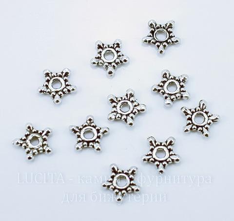 """Бусина металлическая - спейсер """"Звездочка"""" (цвет - античное серебро) 9х9х2 мм, 10 штук ()"""