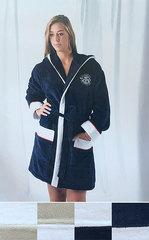 Элитный халат велюровый Genois белый с синим от Mirabello