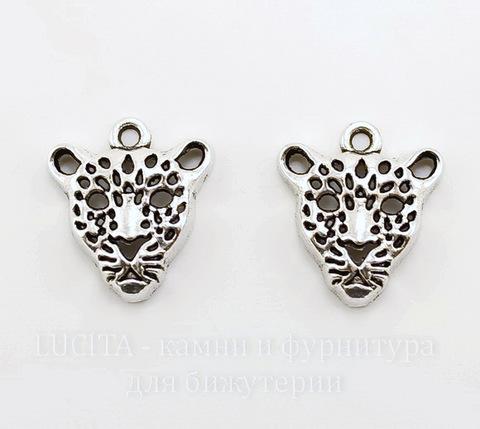 "Подвеска ""Леопард"" 20х18 мм (цвет - античное серебро)"
