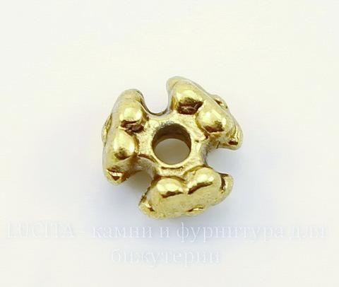 """Бусина металлическая """"Три цветка"""" (цвет - античное золото) 7х4 мм, 10 штук"""