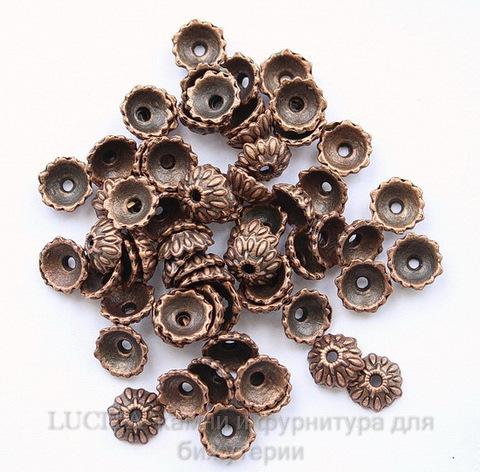 Шапочка для бусины (цвет - античная медь) 9х3 мм , 10 штук ()