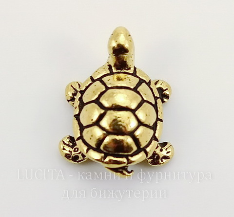 "Бусина TierraCast ""Черепашка"" 15х12х5 мм (цвет-античное золото)"