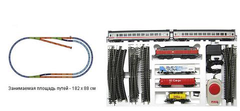 PIKO 96912 Стартовый набор модельной железной дороги 2в1 «Грузовой и пассажирский составы», 1:87