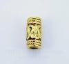 Бусина металлическая - трубочка с узором 10х5 мм (цвет - античное золото), 10 штук