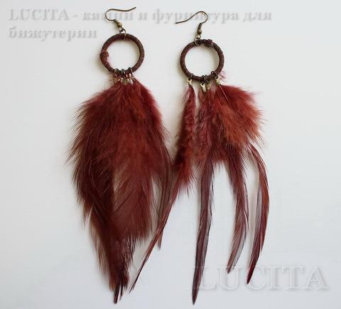 Серьги с перьями на колечке , цвет швенз - бронза , цвет пера - бордово-коричневый ()