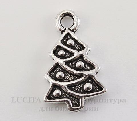"""Подвеска TierraCast """"Новогодняя елка"""" (цвет-античное серебро) 20х12 мм"""