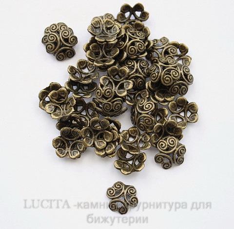 "Шапочка для бусины ""3 завитка""(цвет - античная бронза) 12 мм , 10 штук ()"