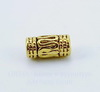 Бусина металлическая трубочка с узором (цвет - античное золото) 10х5 мм, 10 штук