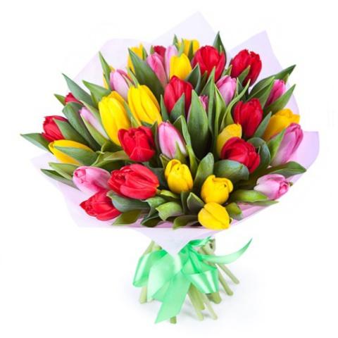 Букет микс из тюльпанов (желтые, розовые, красные)