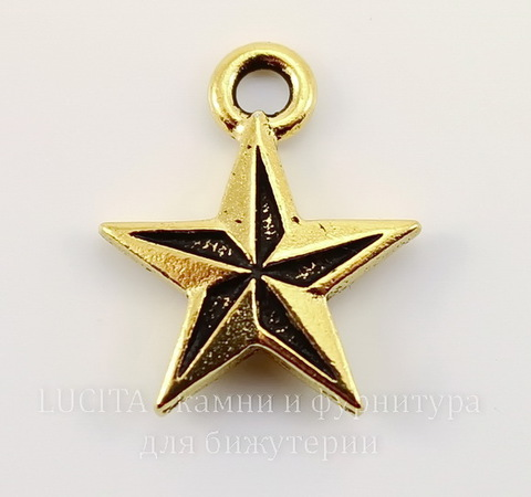 "Подвеска TierraCast ""Звезда"" (цвет-античное золото) 18х15 мм"