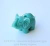 "Бусина Коралл (искусств), ""Слон"", цвет - бирюзовый, 27х20х14 мм"