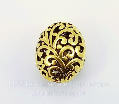"""Бусина металлическая """"Ажурный овал"""" (цвет - античное золото) 22х17 мм"""