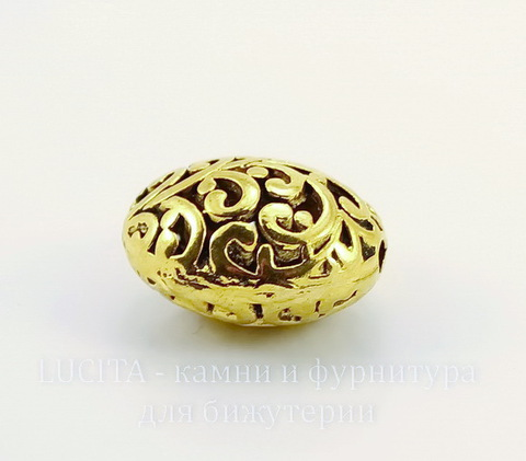 """Бусина металлическая """"Ажурный овал"""" 22х17 мм (цвет - античное золото)"""