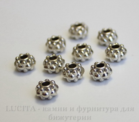 Бусина металлическая - рондель (цвет - античное серебро) 6,5х4,5 мм, 10 штук