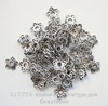 "Шапочка для бусины ""Ажурный цветок"" (цвет - античное серебро) 12х2,5 мм, 10 штук"