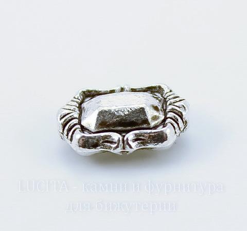 Бусина металлическая прямоугольная (цвет - античное серебро) 11х8 мм, 10 штук