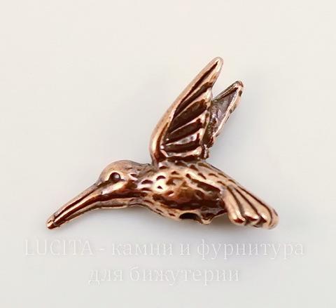"Бусина TierraCast ""Колибри"" (цвет-античная медь) 19х13 мм"