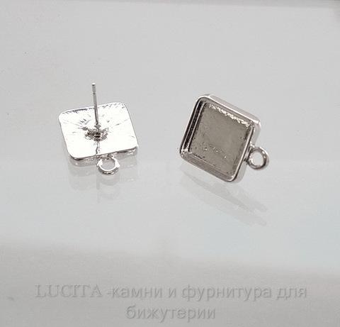 Пуссеты - гвоздики с квадратным сеттингом для кабошона 11,5х11,5 мм (цвет - серебро)(с заглушками)