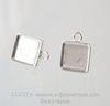 Пуссеты - гвоздики с квадратным сеттингом для кабошона 12х12 мм (цвет - серебро)(с заглушками)