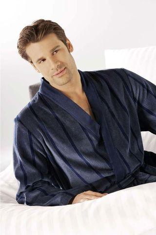 Элитный халат велюровый мужской 2830 синий от Cawo