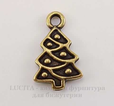 """Подвеска TierraCast """"Новогодняя елка"""" (цвет-античная латунь) 20х12 мм"""