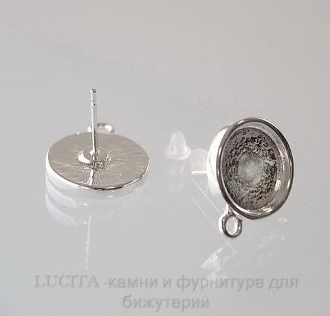 Пуссеты - гвоздики с сеттингом для кабошона 13 мм (цвет - серебро)(с заглушками)