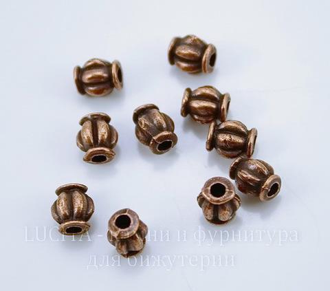 """Бусина металлическая """"Фонарик"""" (цвет - античная медь) 6х4 мм, 10 штук"""