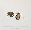 Пуссеты - гвоздики с сеттингом с ажурным краем для кабошона 12 мм (цвет - античная бронза)(с заглушками)