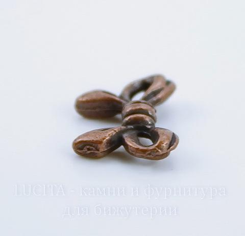 """Бусина металлическая """"Бантик"""" 14х10 мм (цвет - античная медь), 10 штук"""