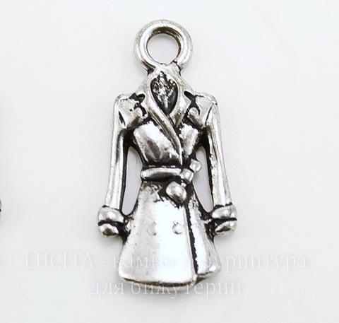 """Подвеска """"Пальто"""" (цвет - античное серебро) 23х12 мм"""