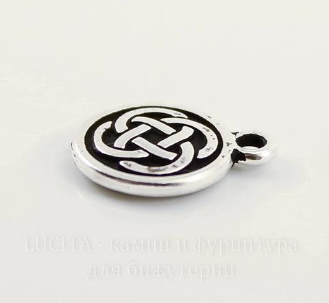 """Подвеска круглая TierraCast """"Кельтский узел"""" (цвет-античное серебро) 15х12 мм"""