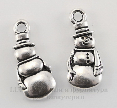 "Подвеска TierraCast ""Снеговик"" (цвет-античное серебро) 23х10 мм"