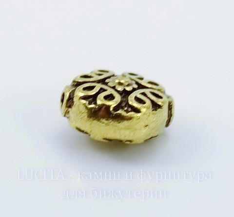 """Бусина металлическая """"Узоры"""" 12х11 мм (цвет - античное золото)"""