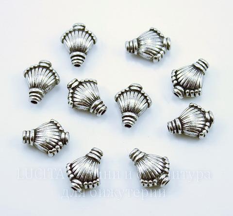 """Бусина металлическая """"Ракушка"""" (цвет - античное серебро) 11х9 мм, 10 штук"""