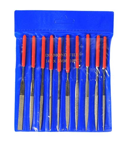 Набор надфилей  с ручками алмазные,10 шт.,чехол