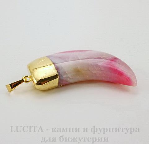 """Подвеска Агат (тониров) """"Клык"""" (цвет - бело-розовый) 59,6х22,5х12,4 мм №5"""