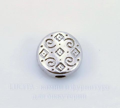 """Бусина металлическая """"Узоры"""" (цвет - античное серебро) 7х3 мм, 10 штук ()"""