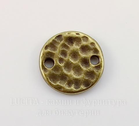 """Коннектор круглый TierraCast """"Hammertone"""" (1-1) 11 мм (цвет-античная латунь)"""
