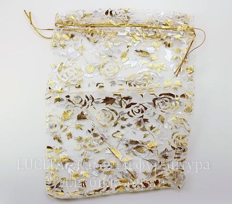 """Подарочный мешочек из органзы """"Золотые розы"""" белый, 20х15 см"""