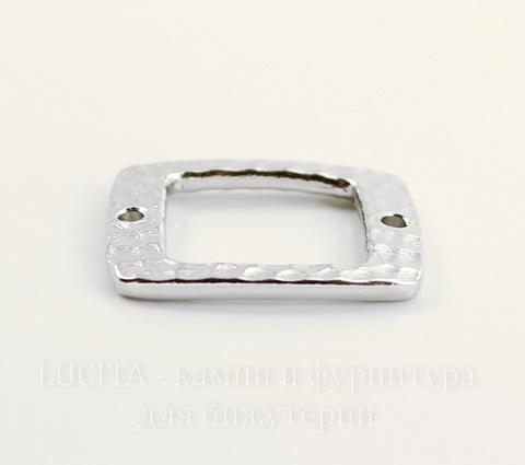 """Коннектор прямоугольный TierraCast """"Hammertone"""" (1-1) 22х8 мм (цвет-платина)"""