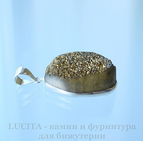 Подвеска Кварц в рамке (цвет - античное серебро) 30,3х22,3х13,2 мм №16