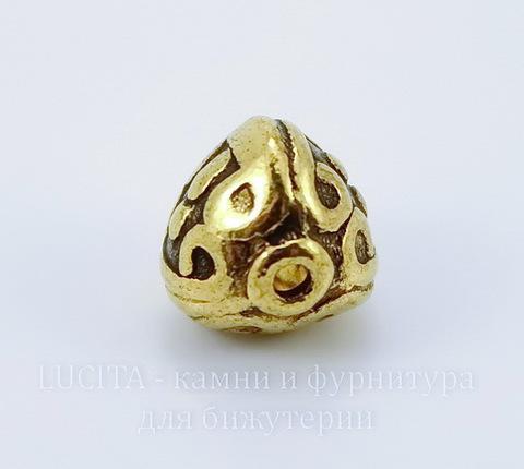 "Бусина металлическая ""Фонарик"" (цвет - античное золото) 9х9 мм"