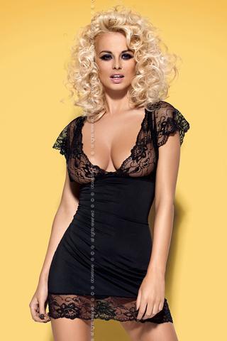 Эротическая сорочка черная с глубоким декольте Imperia