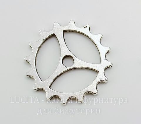 """Подвеска """"Шестеренка"""" (цвет - античное серебро) 23 мм"""